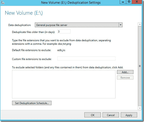 Configure Data Deduplicaton for a volume