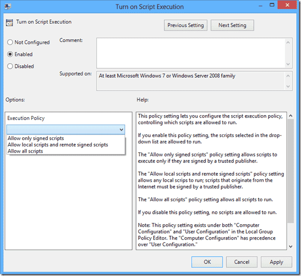 Enable PowerShell execution policy