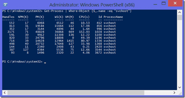Example with the PowerShell operator -eq