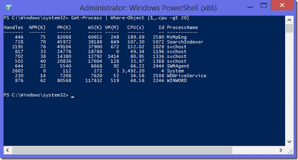 Example with the PowerShell operator -gt