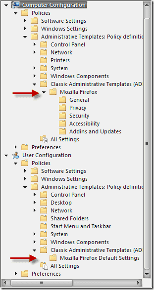 group policy settings firefox