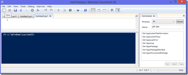 PowerShell ISE tabs