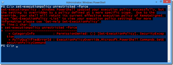 PowerShell execution policy overridden