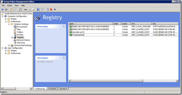 Registry entries for Administrative  Unlock