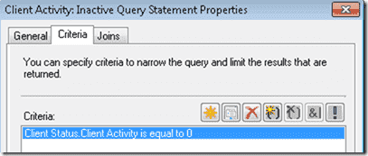 This query simple checks to see if the Client Activity Status is equal to zero