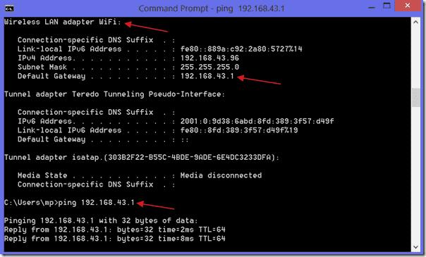 Find gateway address with ipconfig