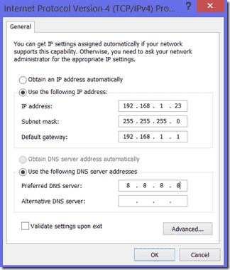 Set IP address manually