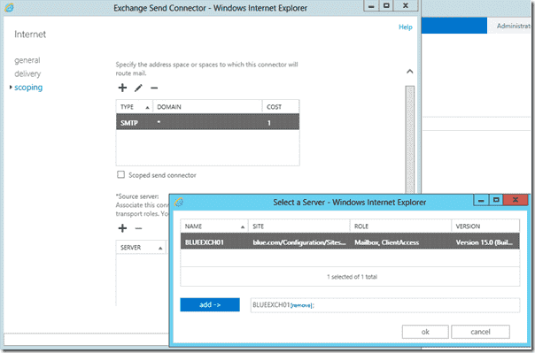 Adding Exchange 2013 servers to a Send connector