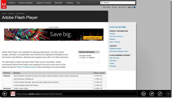 Adobe Flash Player in IE10 app