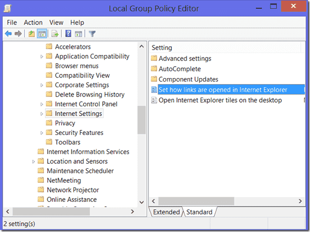 Group Policy settings for IE10 as app or desktop application