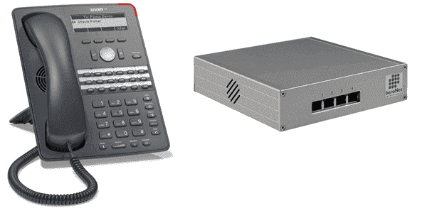 VoIP desk phone at left, VoIP gateway at right