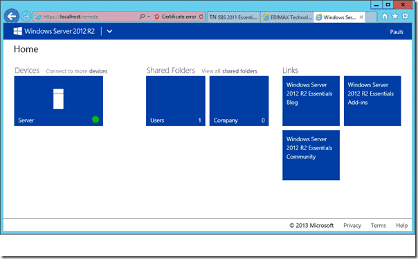 Windows Server 2012 R2 Essentials Remote Web Access