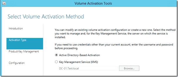 Configuring Active Directory Based Activation