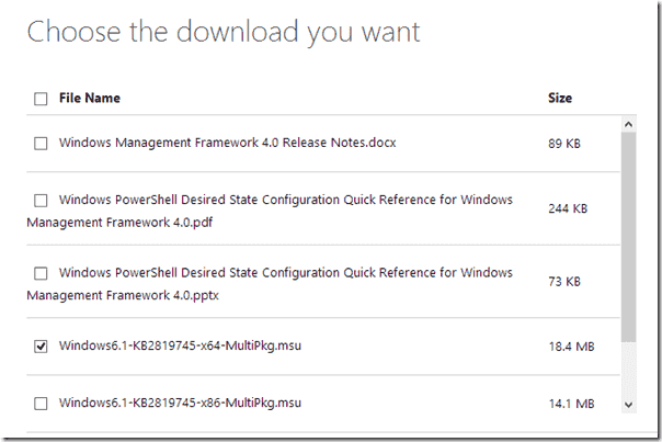 Download Windows Management Framework 4
