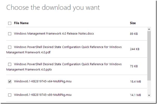 Download Windows Management Framework 4