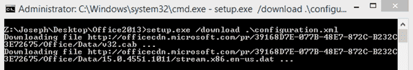 Downloading the Click-to-Run Office packages
