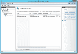 Server certificates in IIS Manager