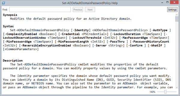 Set-ADDefaultDomainPasswordPolicy
