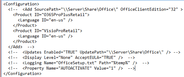The unaltered Click-to-Run Office 365 configuration file