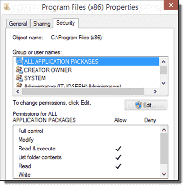 ALL APPLICATION PACKAGES needs Read-Execute permissions to Program Files