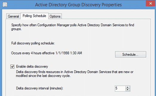 Enabling delta discovery for Active Directory groups