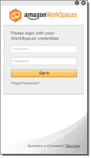 Please login with your WorkSpaces credentials