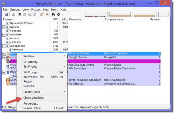 Process Explorer - Check VirusTotal