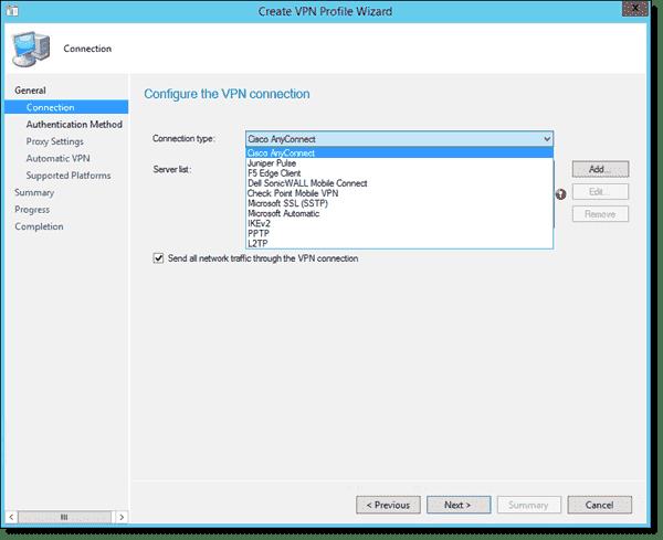 SCCM 2012 R2 VPN Profile