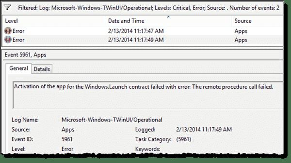 Windows Store app failed to start