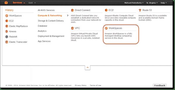 Amazon WorkSpaces in Amazon Management Console