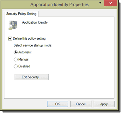 AppLocker requires the Application Identity service to function