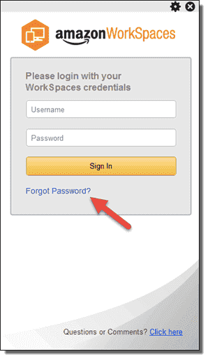 Forgot WorkSpaces password