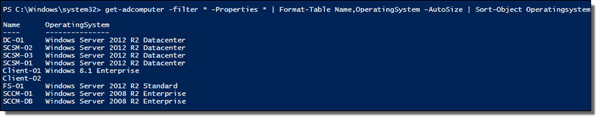 Listing and Sorting Operating Systems with PowerShell