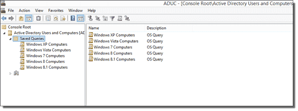 Our completed ADUC OS queries for each OS that we support