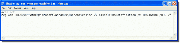 Prevent Windows XP End of Support Notification - Script