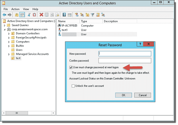Reset password of WorkSpace user