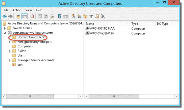 WorkSpaces Active Directory domain controllers