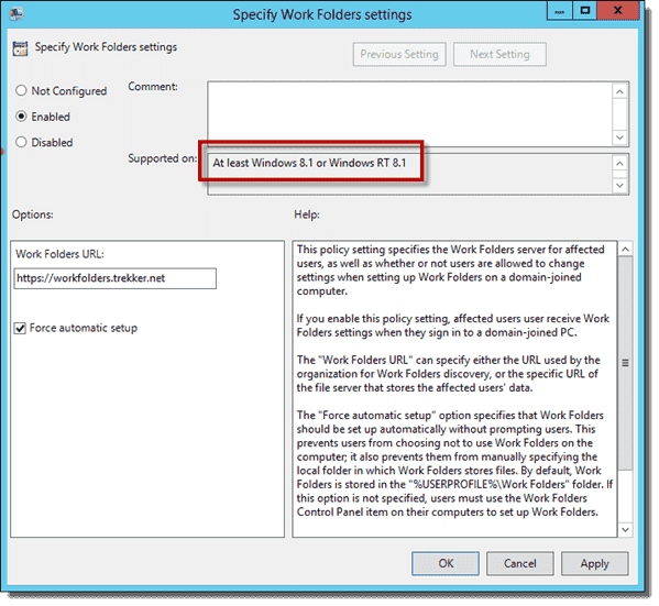 Group Policy - At least Windows 8.1 or Windows RT 8.1