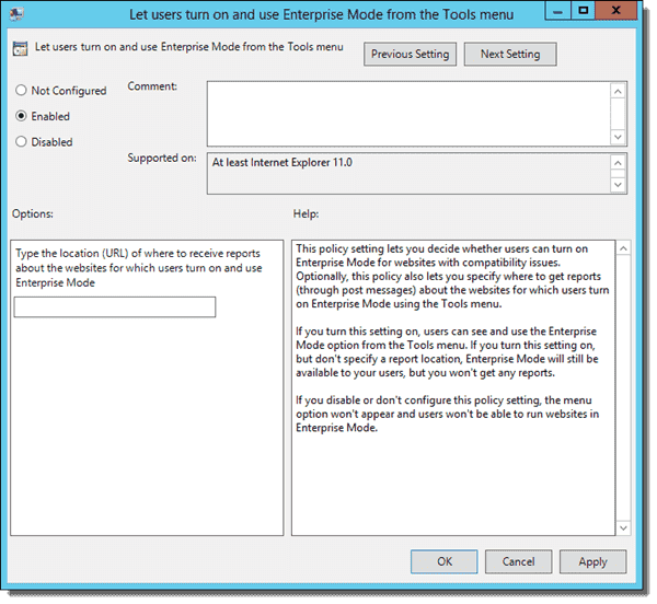 Let users turn on and use Enterprise Mode from the Tools menu