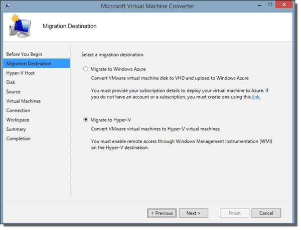 MVMC can take you from vSphere to Hyper-V or Azure