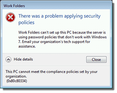There was a problem applying security policies