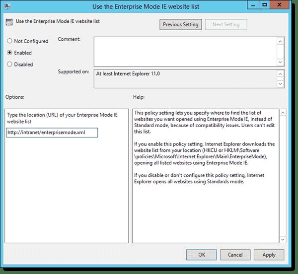 Use the Enterprise Mode IE website list