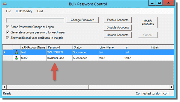 Bulk Password Control - Changed password