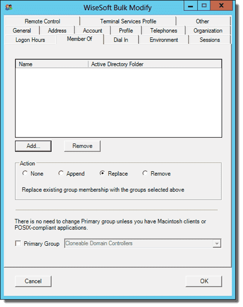 Bulk modify user attributes