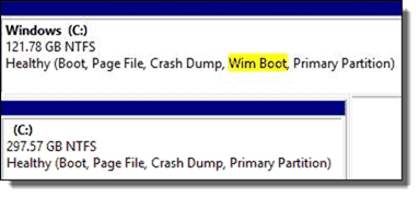 Disk Management for a WIMBoot and Non-WIMBoot machine