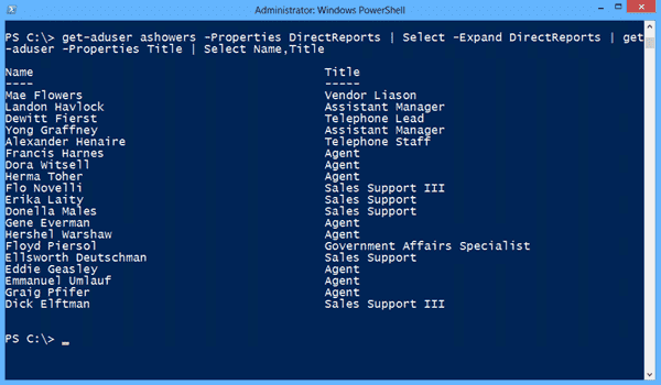 get-aduser - Getting direct reports 2