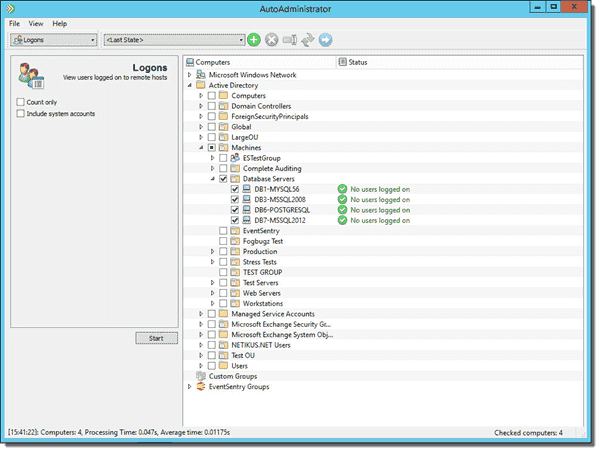 AutoAdministrator - View users logged on to remote hosts