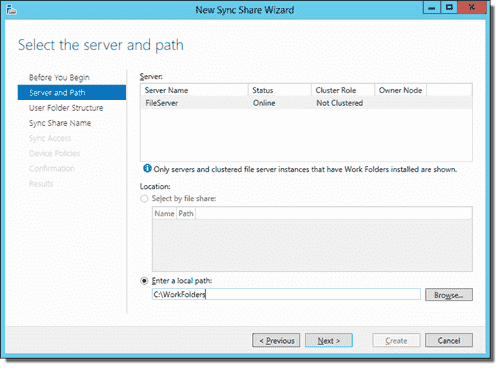 New Sync Share Wizard, Part 1