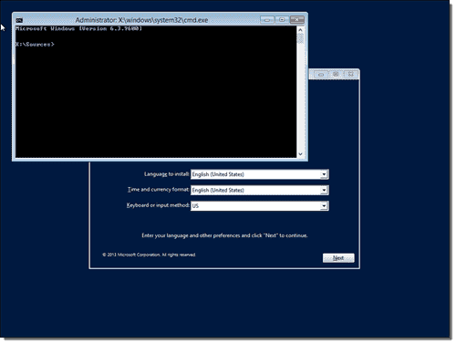 Open command prompt in Windows Setup