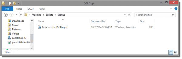 Startup folder of the policy